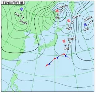 11月15日(水)6時の実況天気図