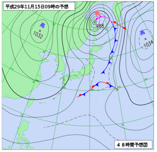 11月15日(水)9時の予想天気図