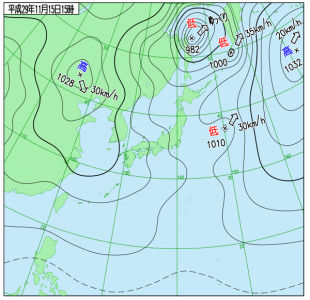 11月15日(水)15時の実況天気図