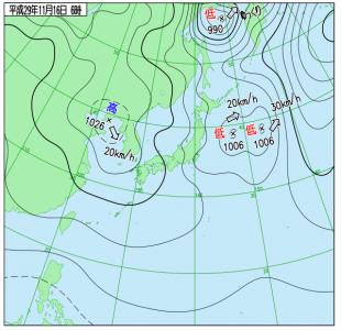 11月16日(木)6時の実況天気図