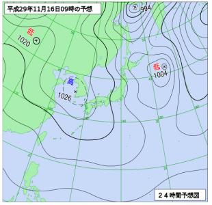 11月16日(木)9時の予想天気図
