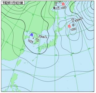 11月16日(木)15時の実況天気図