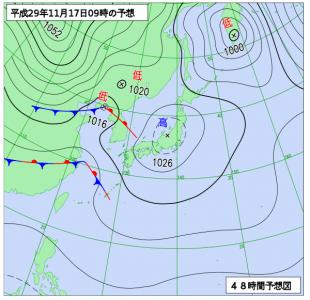 11月17日(金)9時の予想天気図