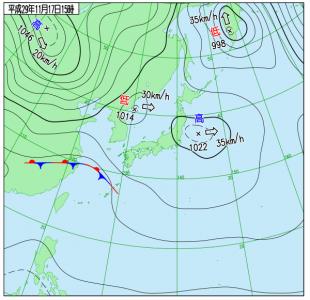 11月17日(金)15時の実況天気図