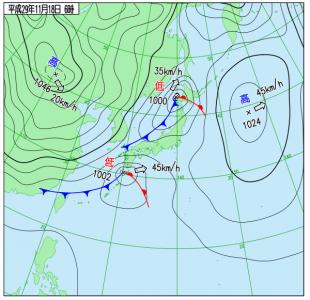 11月18日(土)6時の実況天気図