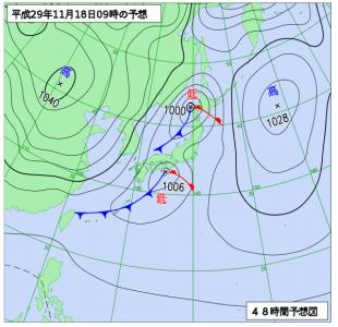 11月18日(土)9時の予想天気図
