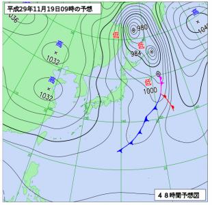 11月19日(日)9時の予想天気図