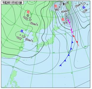 11月19日(日)15時の実況天気図