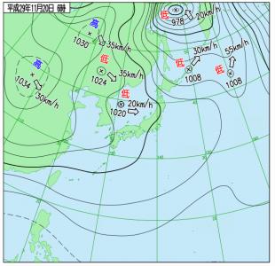 11月20日(月)6時の実況天気図