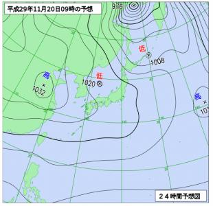 11月20日(月)9時の予想天気図