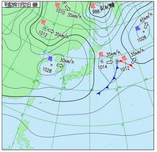 11月21日(火)6時の実況天気図