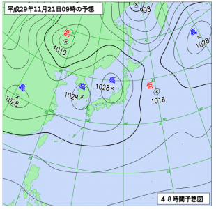 11月21日(火)9時の予想天気図