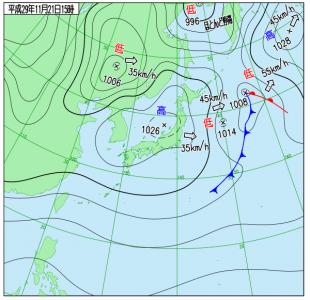 11月21日(火)15時の実況天気図