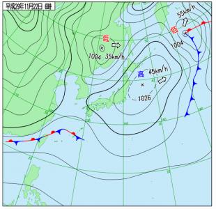 11月22日(水)6時の実況天気図