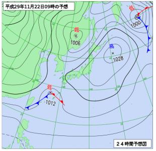 11月22日(水)9時の予想天気図
