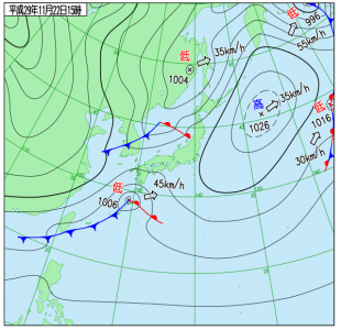 11月22日(水)15時の実況天気図