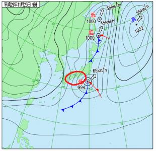 11月23日(木祝)9時の実況天気図
