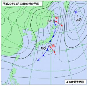 11月23日(木)9時の予想天気図