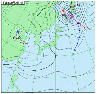 11月24日(金)9時の実況天気図
