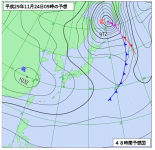 11月24日(金)9時の予想天気図
