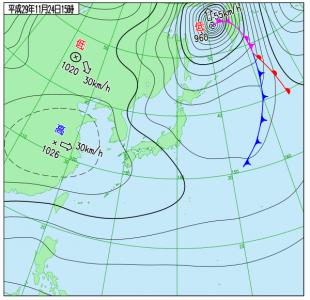 11月24日(金)15時の実況天気図