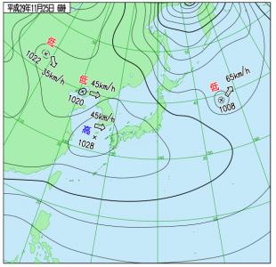 11月25日(土)6時の実況天気図