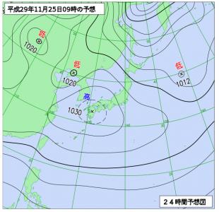11月25日(土)9時の予想天気図