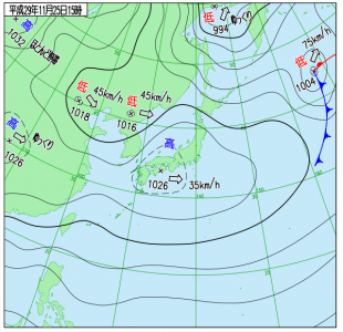11月25日(土)15時の実況天気図
