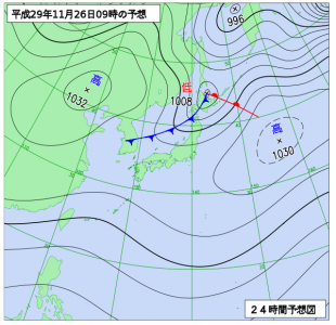 11月26日(日)9時の予想天気図