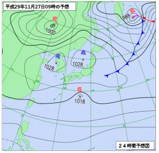 11月27日(月)9時の予想天気図