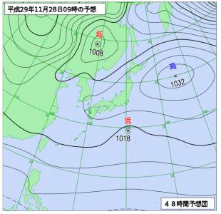 11月28日(火)9時の予想天気図
