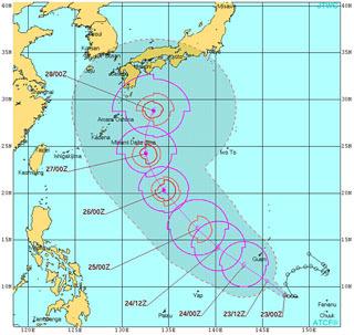 JTWC台風予想(10月23日現在)