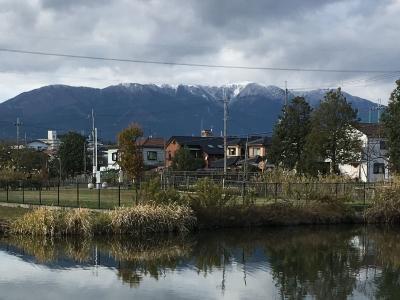 カヤ池から眺めた比良山 一昨日から冠雪したままです(11月21日16時頃)