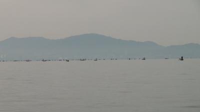 ビワコオープン第4戦開催中の南湖に船団発生!!