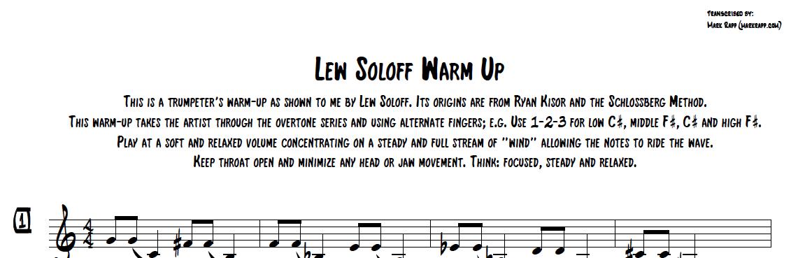 Lew Soloffのウォームアップ