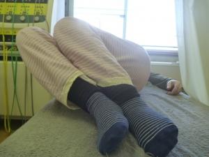 施療前 右倒しで左腰に痛み