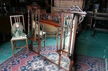 イギリスアンティーク家具 オーバー マントルミラー 鏡