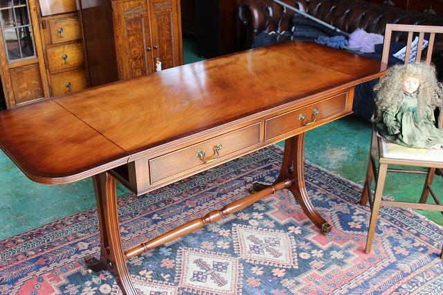 イギリスアンティーク家具 バタフライ デスク テーブル