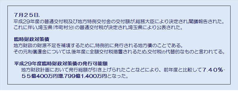 埼玉県市町村平成29年度臨時財政対策債発行可能額・コメント