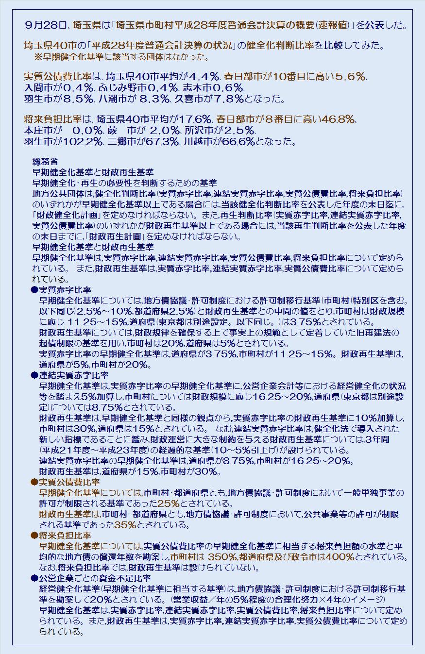 埼玉県40市平成28年度普通会計決算の状況健全化判断比率・コメント