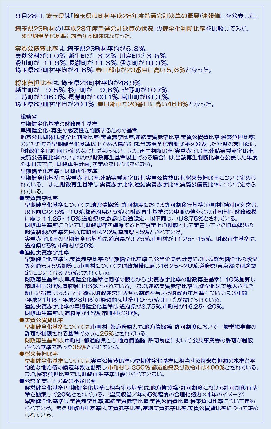 埼玉県23町村平成28年度普通会計決算の状況健全化判断比率・コメント