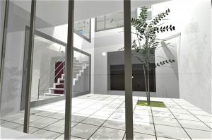 外部からの視線を気にする事なく暮せるガラス張りの2台駐車可能な注文住宅