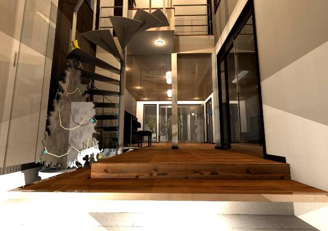 京都市北区,螺旋階段,建艦ホール,吹抜け玄関,ガラスのドア,無垢材,住み心地のいい家,開放的なリビングダイニング