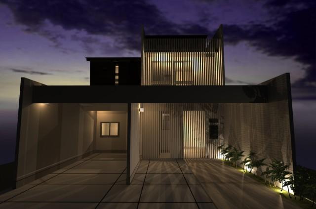 京都市北区紫竹の準防火地域に高性能のデザイナーズ住宅・計画中|耐震等級3・断熱性能4|格子でプライベート確保された和モダン注文住宅