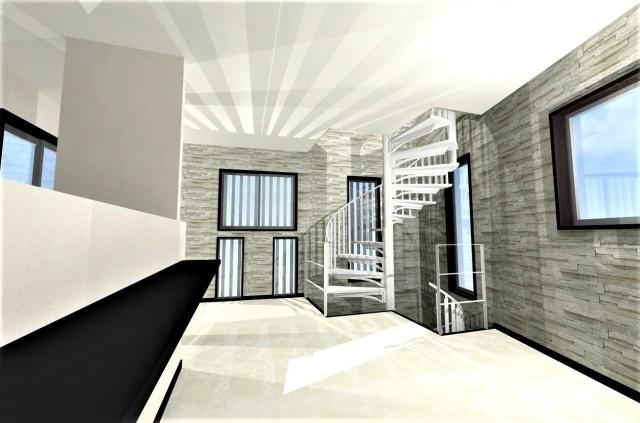 東京都品川区の狭小地に螺旋階段のある木造3階建てのモダンな注文住宅