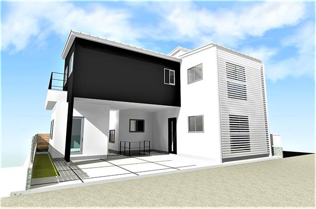 京都府城陽市,注文住宅,モダン住宅,デザイナーズ住宅,一級建築士事務所,二世帯住宅,既存擁壁,地下駐車場