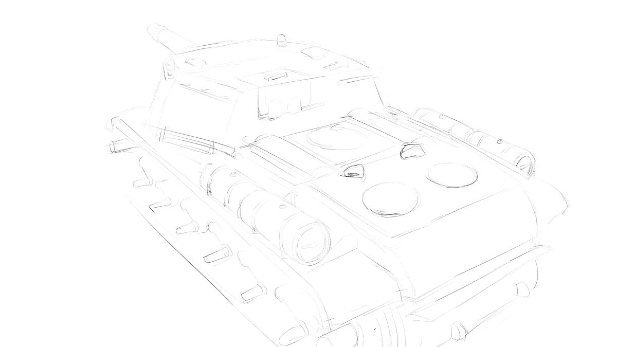 トランペッター その3 No.01571 ソビエト軍 SU-152 重自走砲のスケッチ