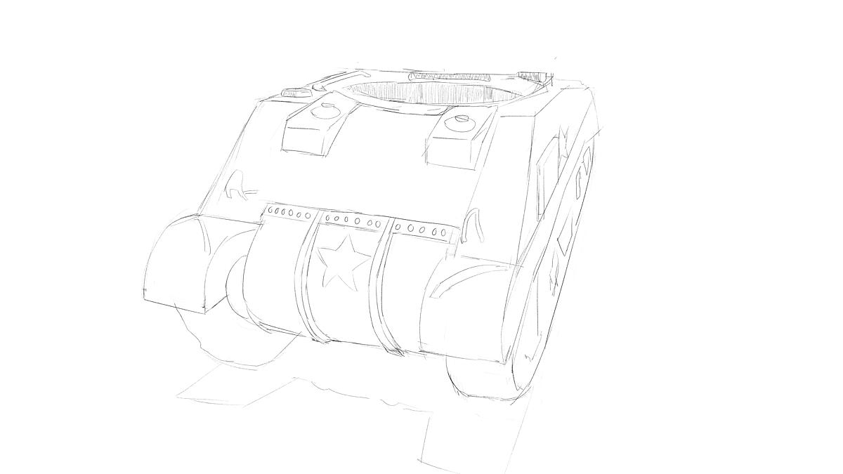 タミヤのミリタリーミニチュアシリーズ  No.190 アメリカ軍 M4シャーマン戦車初期型をスケッチ その1