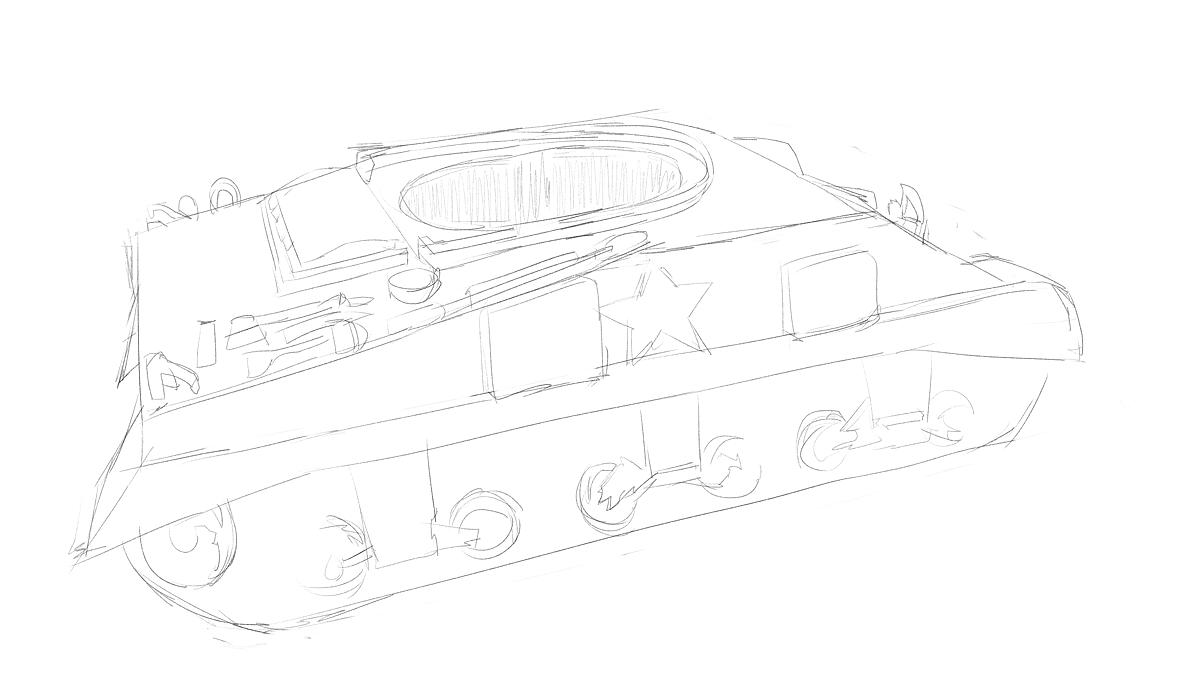 タミヤのミリタリーミニチュアシリーズ  No.190 アメリカ軍 M4シャーマン戦車初期型をスケッチ その2