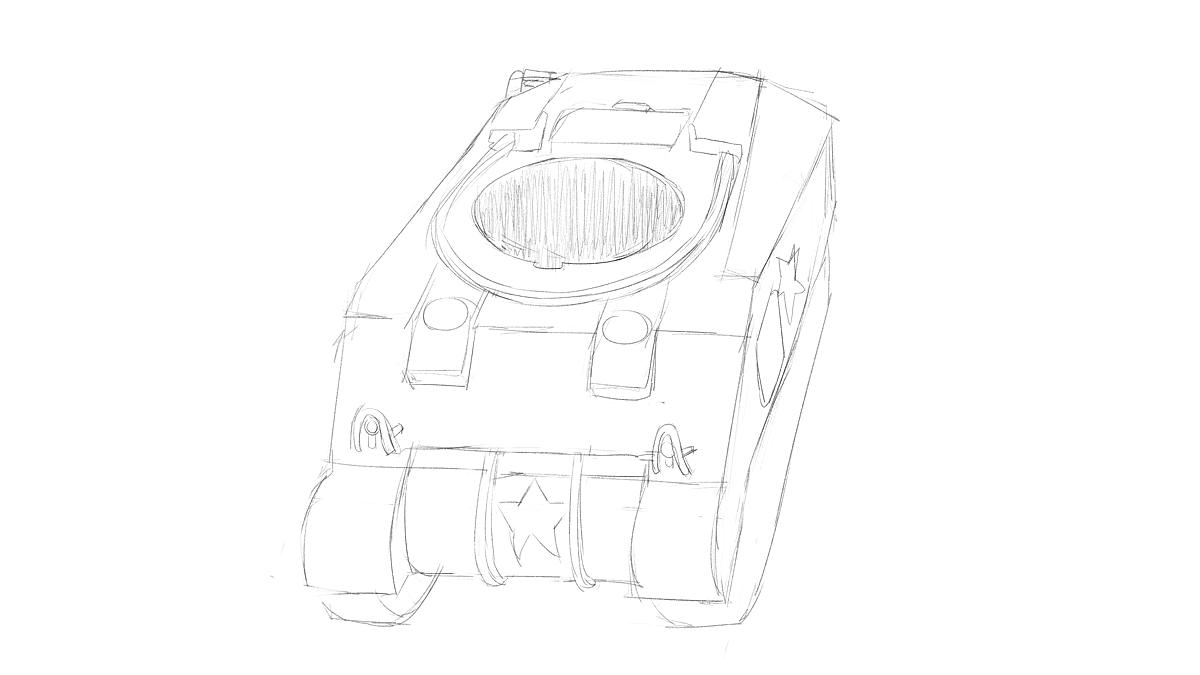 タミヤのミリタリーミニチュアシリーズ  No.190 アメリカ軍 M4シャーマン戦車初期型を直視してスケッチ その1